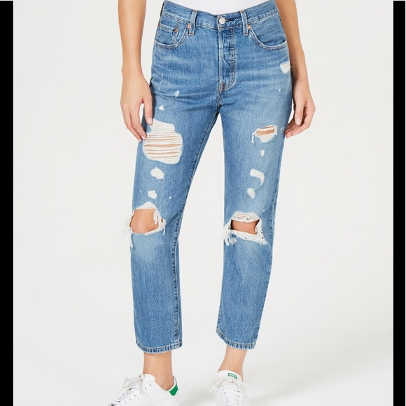 69ec0ffd Levi's Jeans | Levis 501 Crop Straight High Waisted Ripped | Poshmark